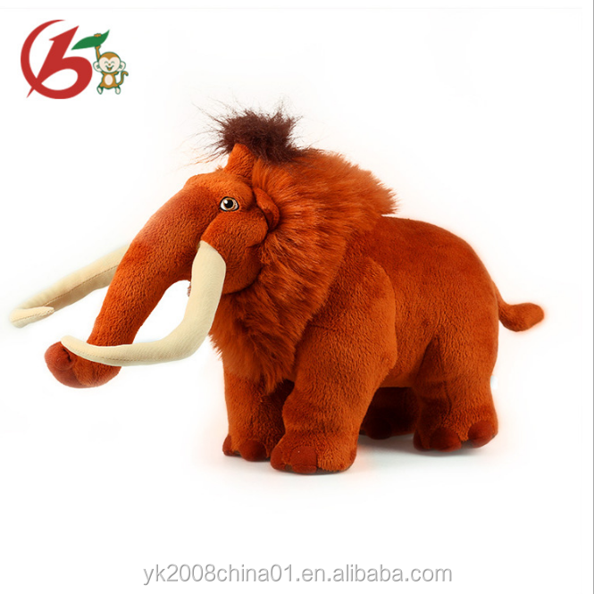 Stuffed Woolly Mammoth With Realistic Design Plush Stuffed Mammoth