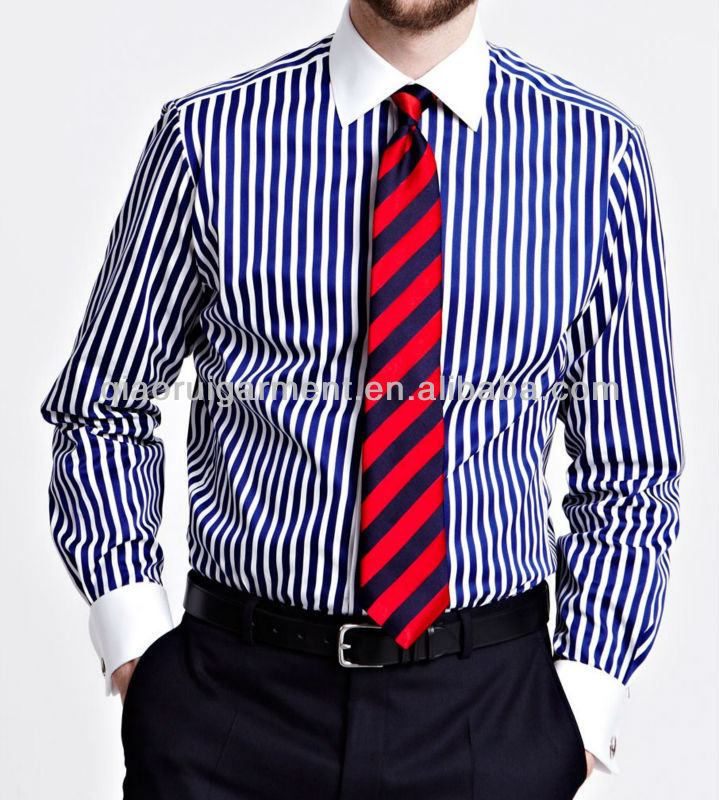 Men's Slim Fit White Collar French Cuff Dress Shirt - Buy White ...