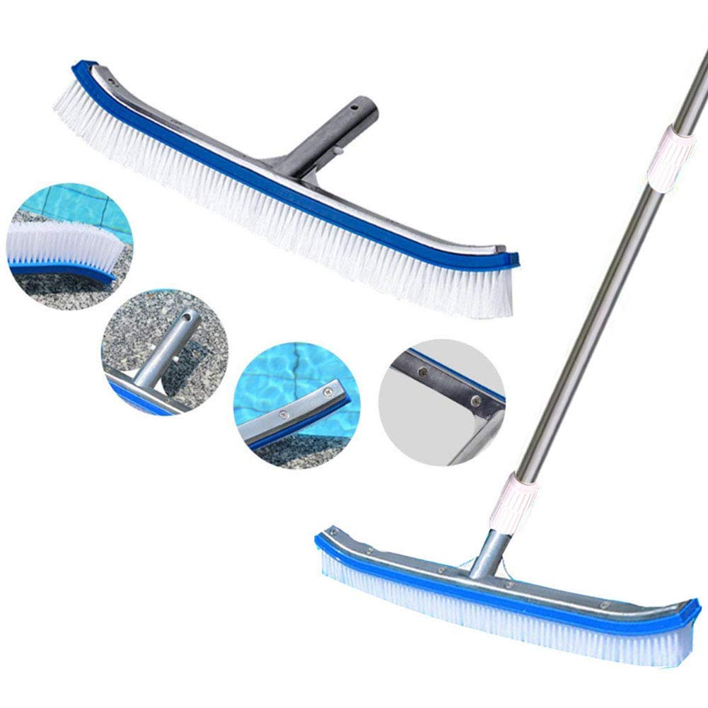 """SOXDirect Swimming Pool Brush 18"""" or Swimming Pool Pole 9-29 Feet - Aluminum Side Pool Clean Brush Nylon Bristles Adjustable Telescopic Pole - Designed for Cleaning Walls/Tiles/Floors"""