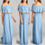 Lady Gown Female Gown Dresses 95% rayon / 5% spandex Blue Tassel-Trim Off-Shoulder Maxi Dress Latest Fashion Evening Dresses