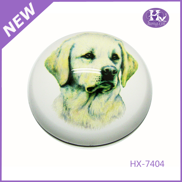 HX-7404 Cute Dog Glass Dome Black Crystal Paperweight