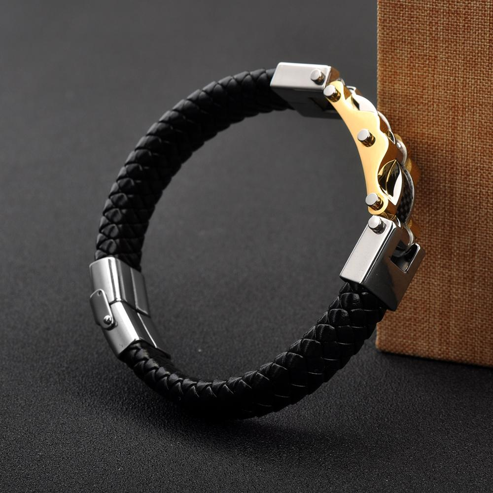 Wholeslae Jewelry Gold Bike Chain Black Leather Men Steel Bracelet