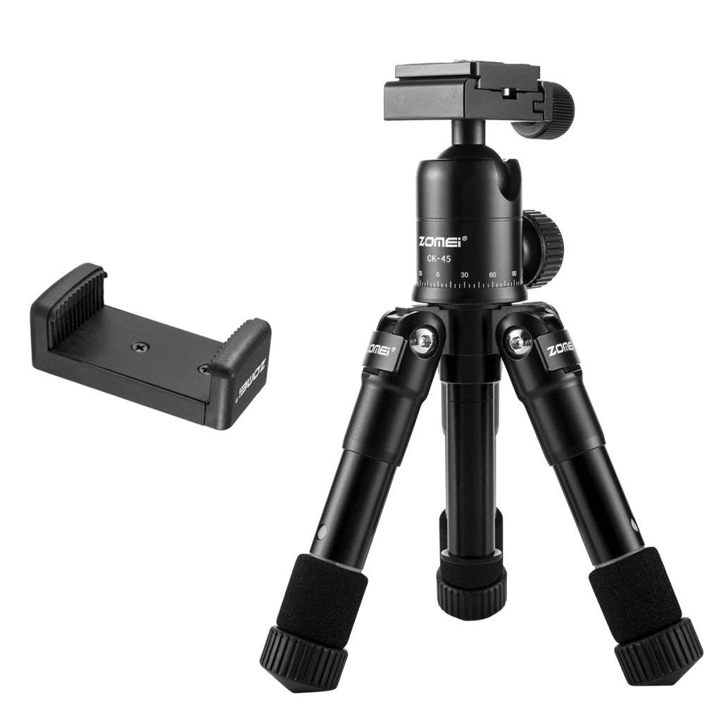Homyl 20 inch/50cm Portable Compact Desktop Holder Macro Mini Tripod with 360 Degree Rotation Ball Head,1/4'' Quick Release Plate for DSLR Camera, Video Camcorder -Black
