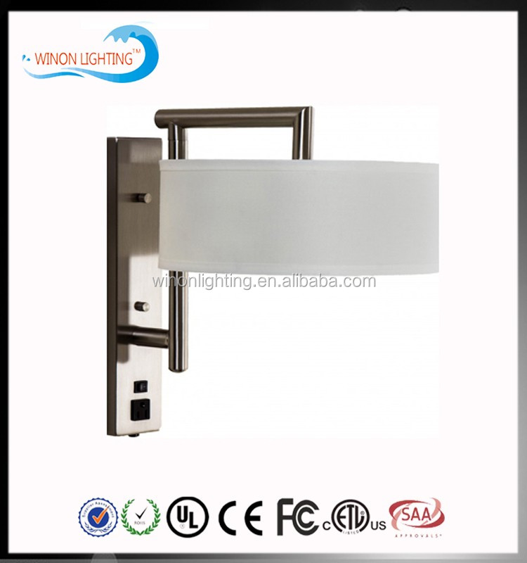 White shade double switch wall lamp for guest room