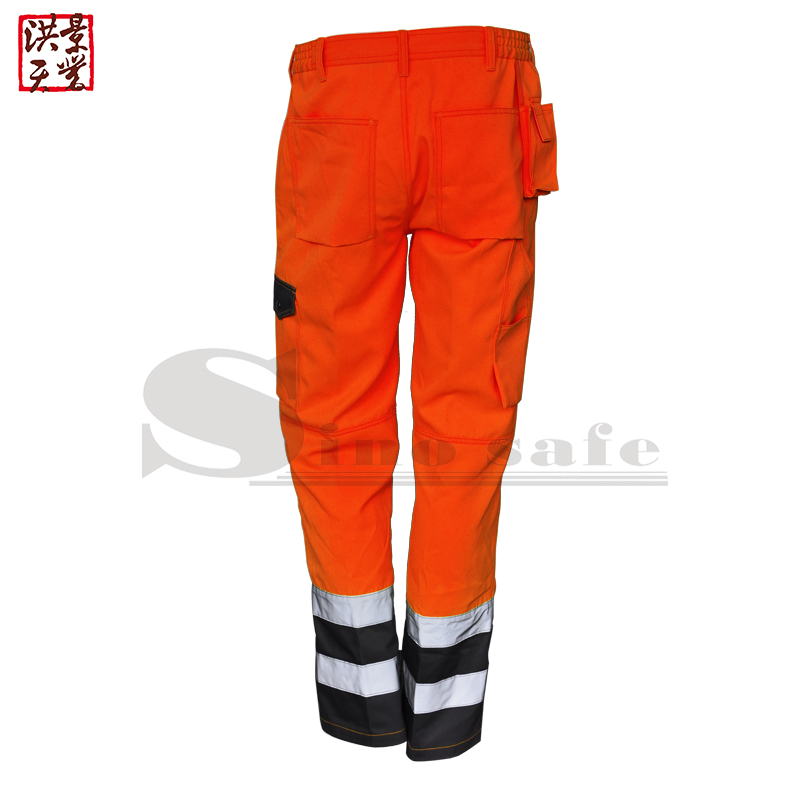 fluorescent <strong>orange</strong>/grey work trousers