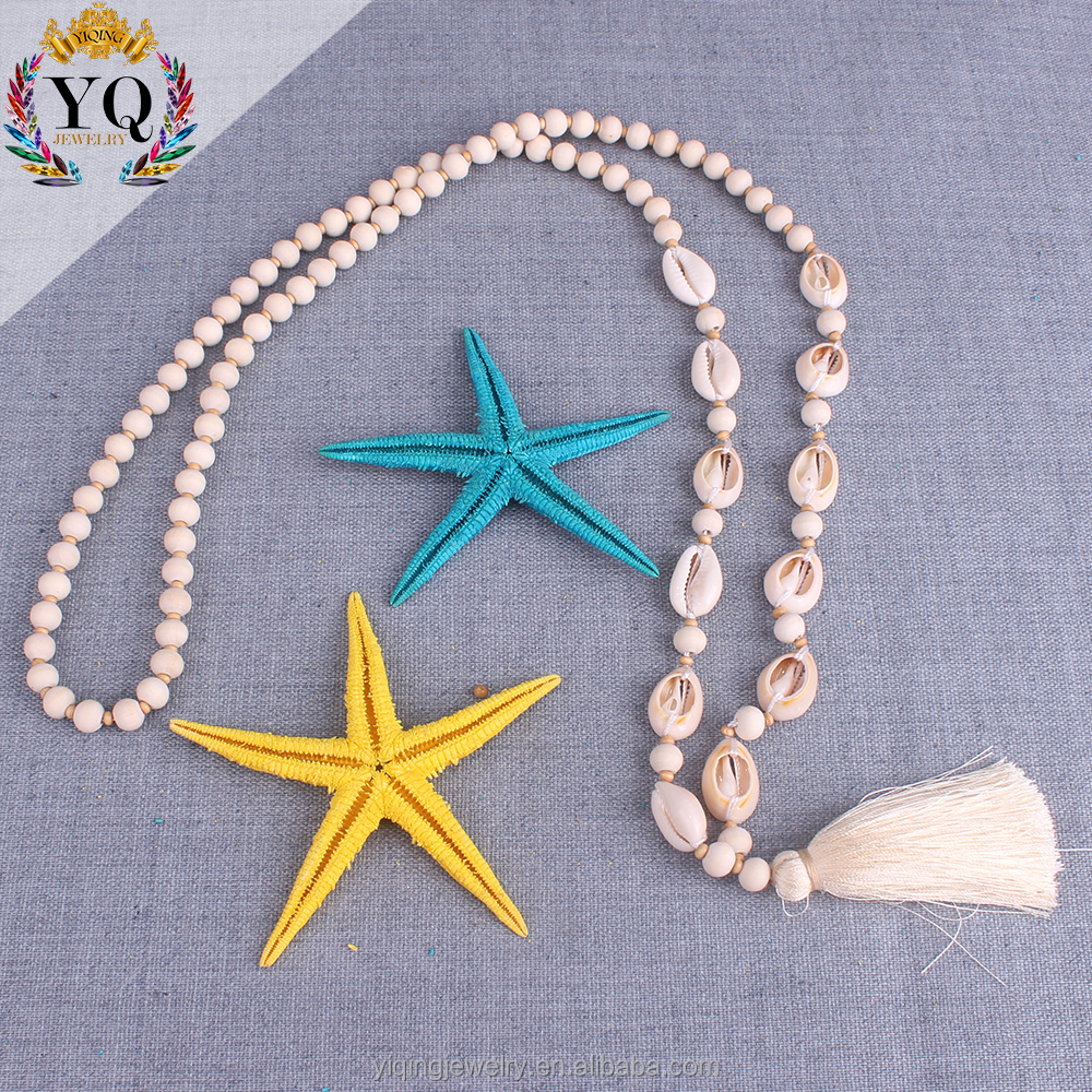 PYQ-00280 Wooden Bead Mala Prayer Necklace long Tassel Necklace beach shell design