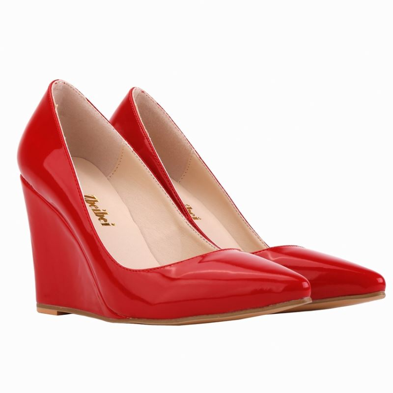 Fashion pu leather pointed toe women wedge shoes super high <strong>heel</strong>