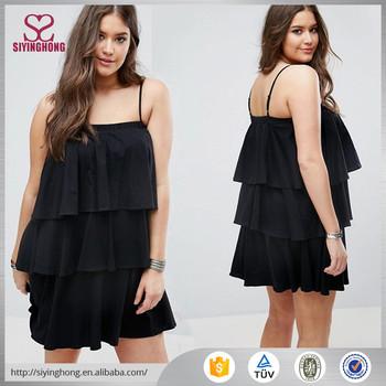 0f19aca6f409 Fat Women Black Ruffle Dress Summer Clothes Women Trapeze Dress ...