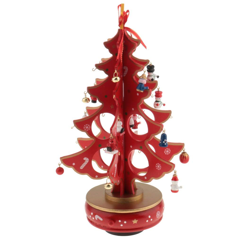 Jili Online New Year Lovely Cartoon Wooden Merry Christmas Tree Decorations Christmas Gifts Ornaments XMAS Table Desk Decor for Home - red