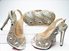 Silver Colorful Style African High Heels/Sexy Woman Shoes Party Wedding Pumps In Stock/Shoes And Bag Set In Silver G20-1