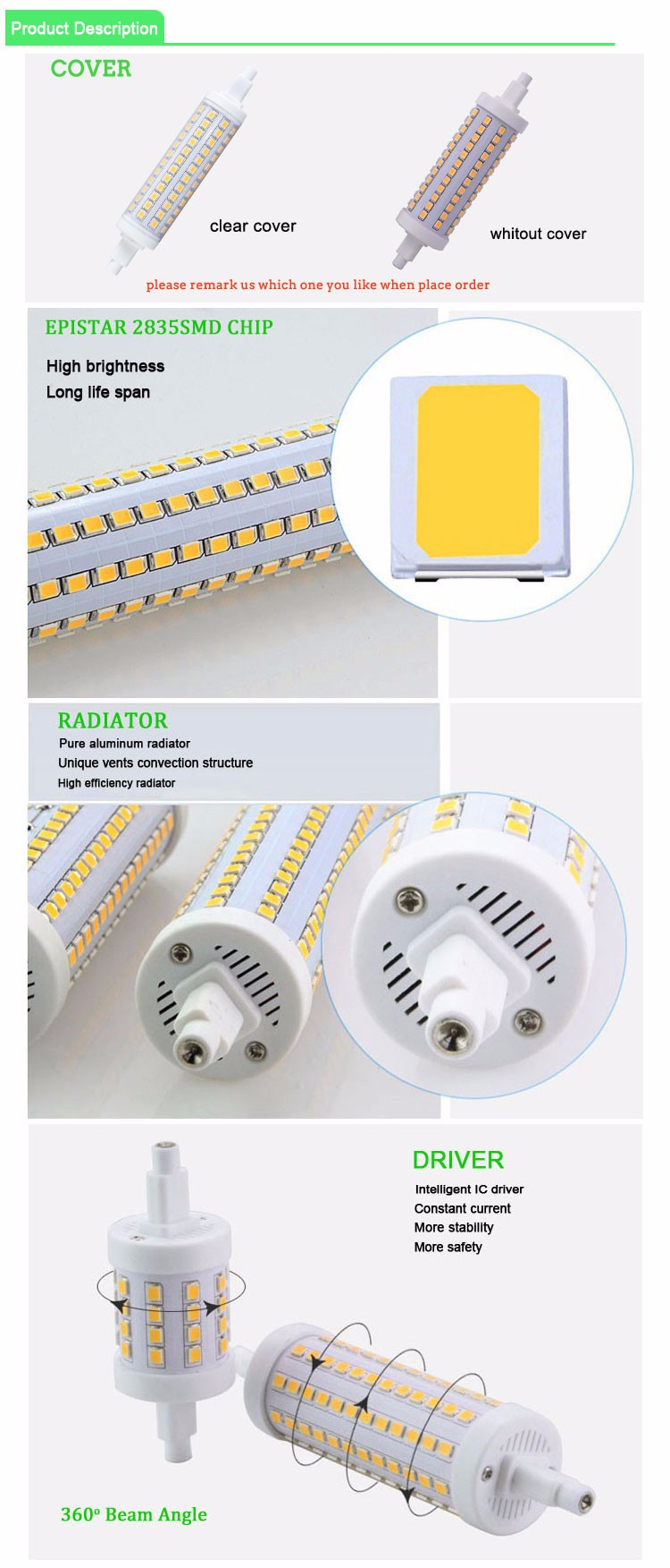 Save energy high cri 118mm lampada led r7s