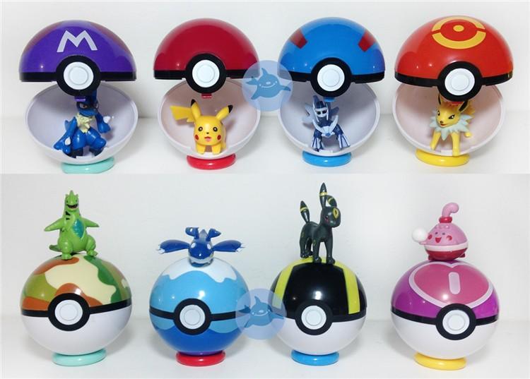 36 Unid por caja 8 color Pokemon Bola con figuras-Animales de ...