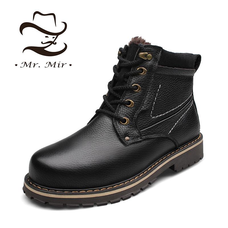 Get Quotations · Mr Mir Genuine Leather Warm Fur Men Winter Boots, Full Grain Leather Super Warm Men