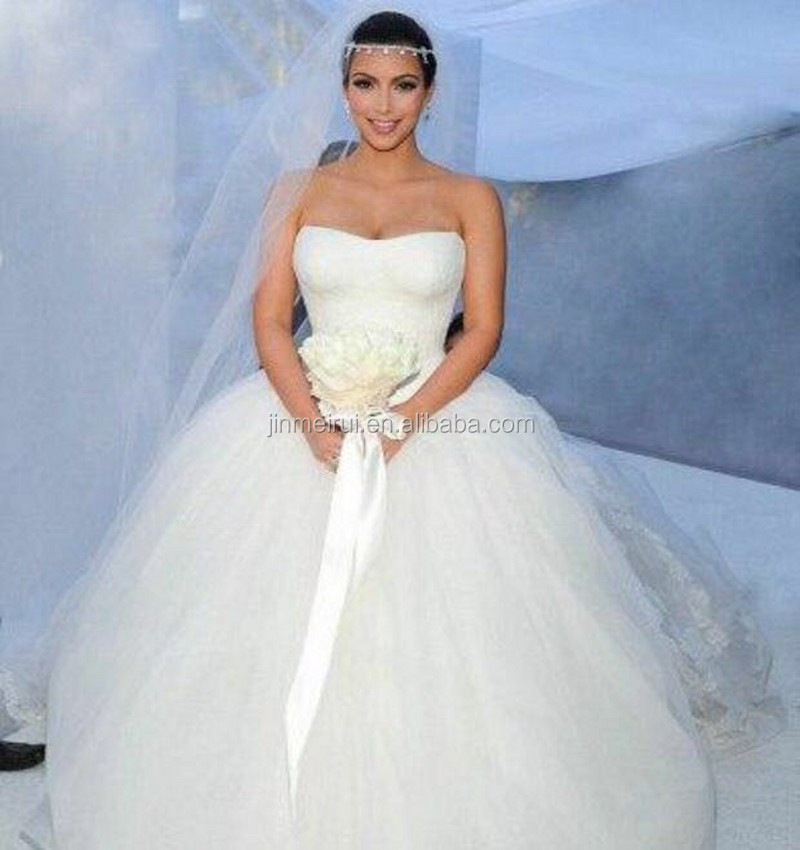 Ball Gown Wedding Dresses Kim Kardashian Tulle Wedding Gown
