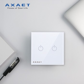 AC100-240V Electrical Switch, 2 Gang Touch Wall Plate Smart Light Switch, In-Wall Wireless Switch