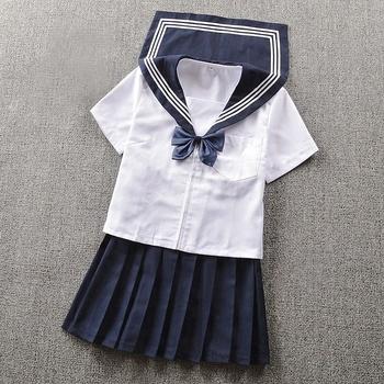 804a7d54177 Premium Asiatique enfants style marinière bleu marine uniforme scolaire de  filles robe motif