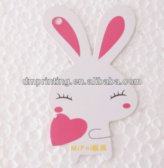 Cute Rabbit Style Paper New Design Garment Hangtag