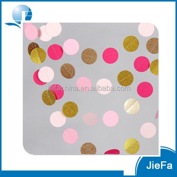 Circle Dots Paper Garland, Pink, White & Gold Glitter for Wedding, Baby Shower Party Decorations