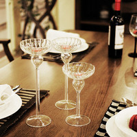 Table candlestick wedding long stem clear tealight glass candle holder