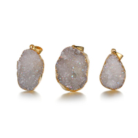 Fashion Gold Plated Unique Natural Loose Agate Gemstone Brazil Druzy Quartz Crystal Pendant Charms for Necklace Jewellery Women