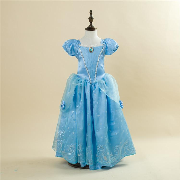 Free Shipping Retail 1pc 2015 New Girls Movie Cosplay Costume Fairy Cinderella Princess font b Dress