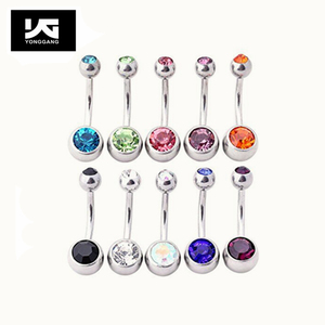 Body Piercing Jewelry Surgical Steel Double Crystal Belly Ring Piercing