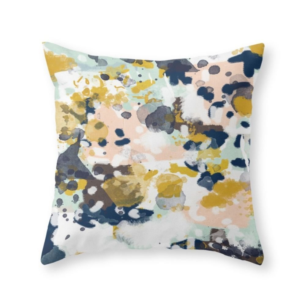 "Society6 Sloane - Abstract Painting In Modern Fresh Colors Navy, Mint, Blush, Cream, White, And Gold Throw Pillow Indoor Cover (16"" x 16"") with pillow insert"