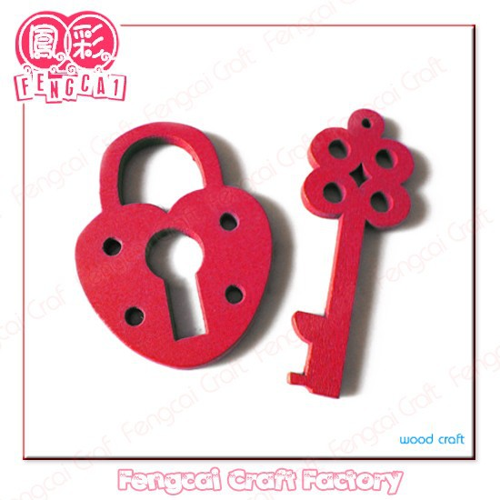 Custom Wooden Key and Lock Shaped Couple Keychain and Key ring