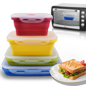 BPA Free Airtight Takeaway Collapsible Meal Prep Silicone Retractable Foldable Food Storage Containers Kids Lunch Bento Boxes