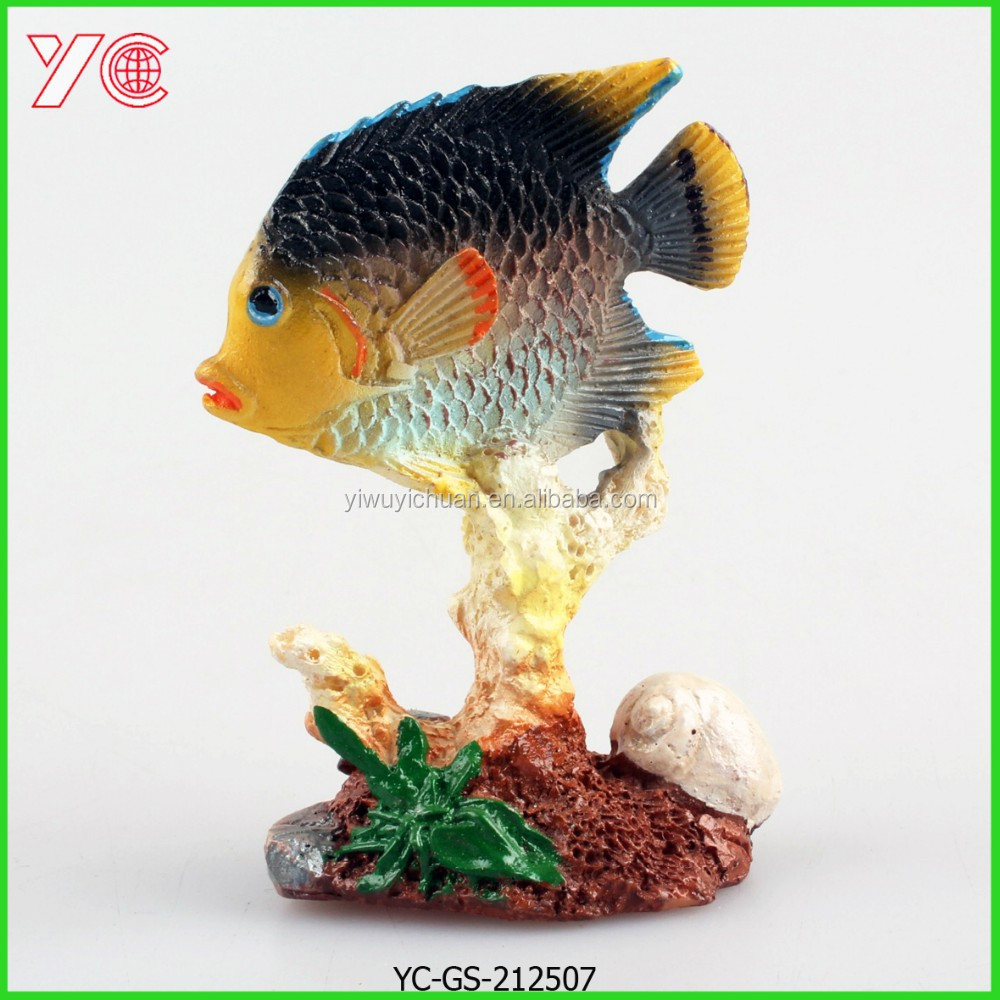 YC-GS-212507 Fish Statue With Coral Handmade Polyresin Home Decoration
