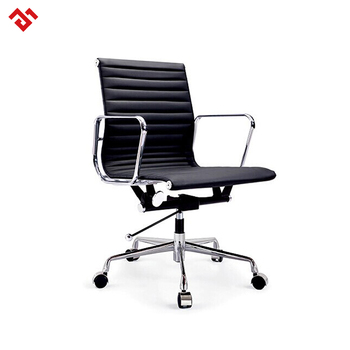 Popular aluminum armrest and base pu leather/genuine leather office chair