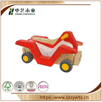 FSC Vintage style colorful Carved Racing Car toy red and black plastic wheels wood toy educational toy made in CHINA