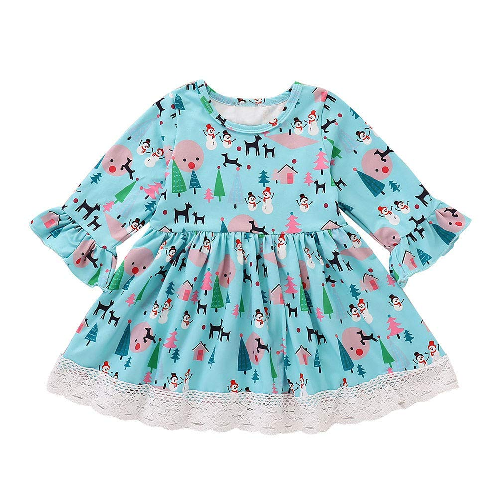 74e82b1a1ad5 Get Quotations · ❤️Mealeaf❤ Toddler Baby Girls Cartoon Animal Printed Dress  Christmas Casual Lace Outfitsmpkin Print