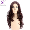 Wonder Woman Diana Cosplay Wig Long Curly Burgundy Synthetic Hair Costume Wig For Halloween