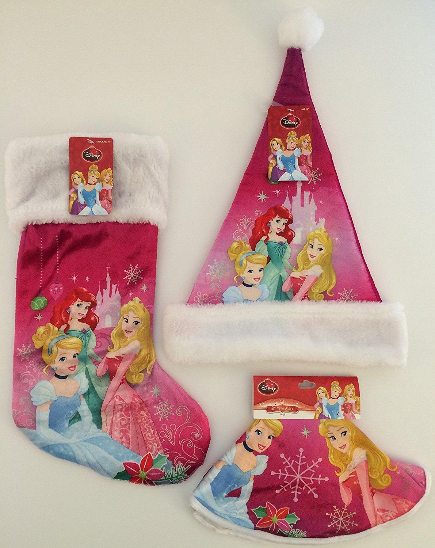 Buy Disney Christmas Stocking Santa Hat Tree Skirt Princess Gift Set