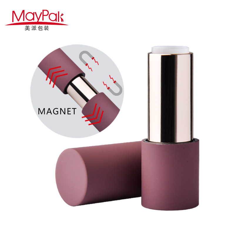 Purple round magnetic lipstick packaging plastic makeup case