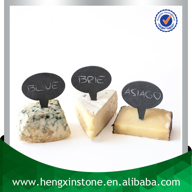 Factory Direct Sales Wholesale <strong>Natural</strong> 6.5*6*0.5cm Oval Decorative Black Slate Cheese Sign