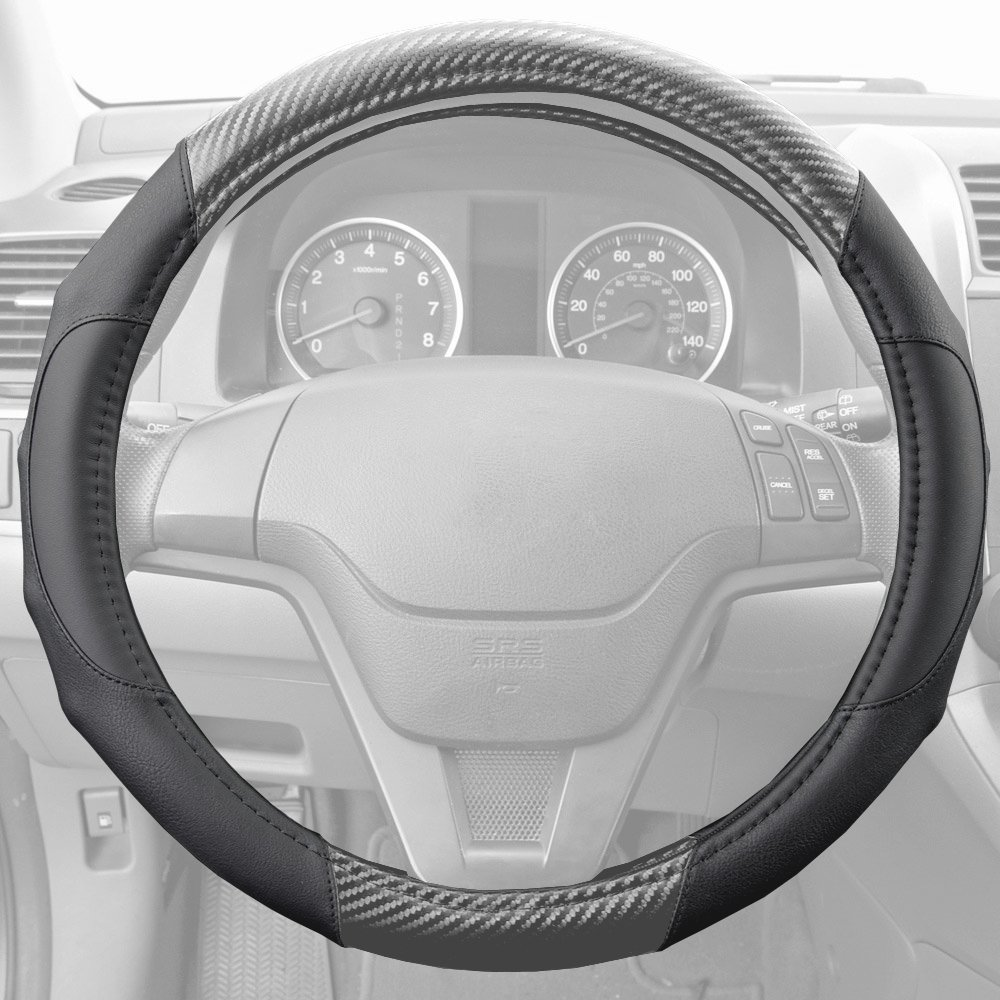 Full Car Covers Covers Pilot Automotive SW-325G Gray Dry Carbon Weave Steering Wheel Cover