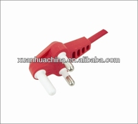3 pin red power cord for south Africa with SABS certificate