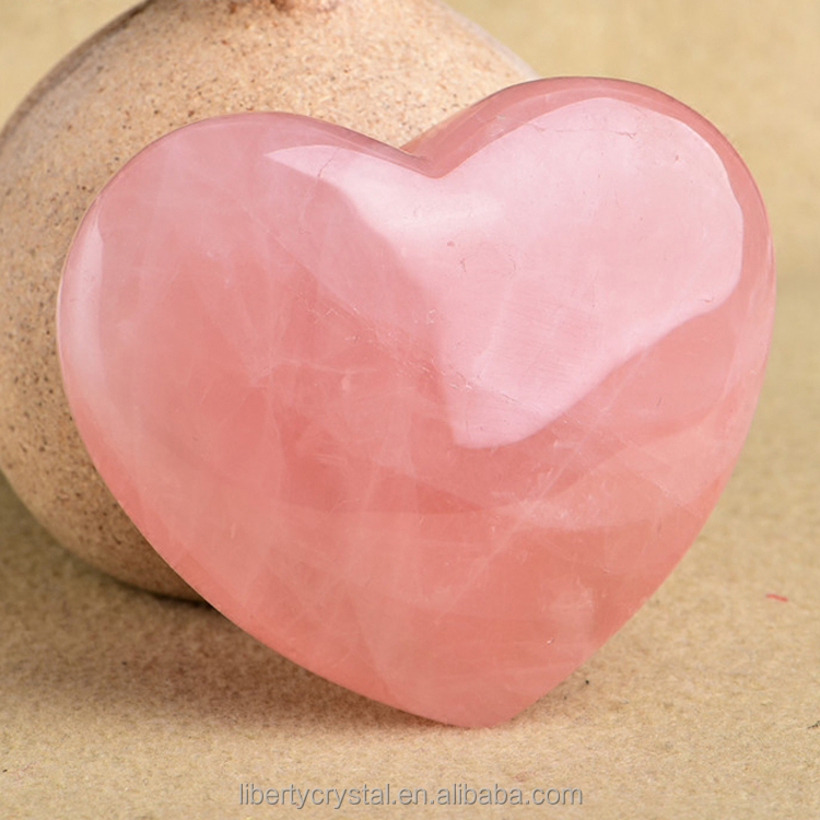 Wholesale Pink Heart Shaped Rose Quartz Crystal Healing Chakra Gemstone Hearts For Gift