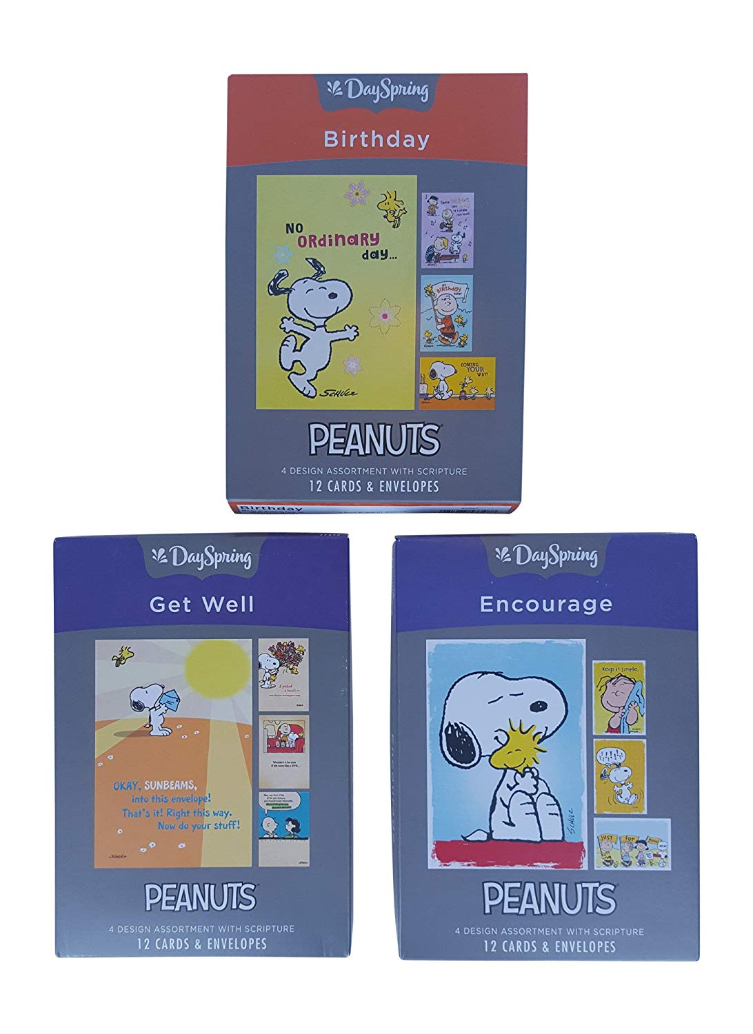 Dayspring Peanuts Boxed Cards Birthday Encouragement Get Well 36 With Envelopes