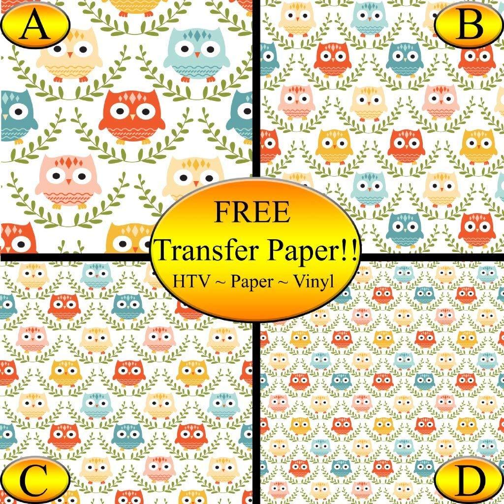 Owl Pattern Printed Heat Transfer Vinyl (Style D - 12 x 12)