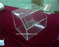 high clear acrylic cube ballot box money raising box with sign holder, upscale mini plastic acrylic charity box