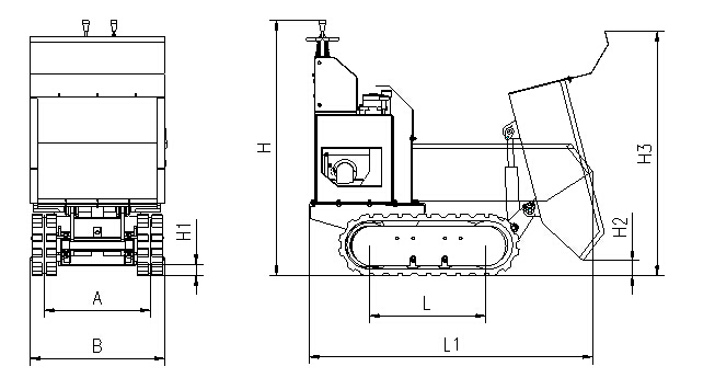 hydraulic crawler mini dumper with 500kg loading weight