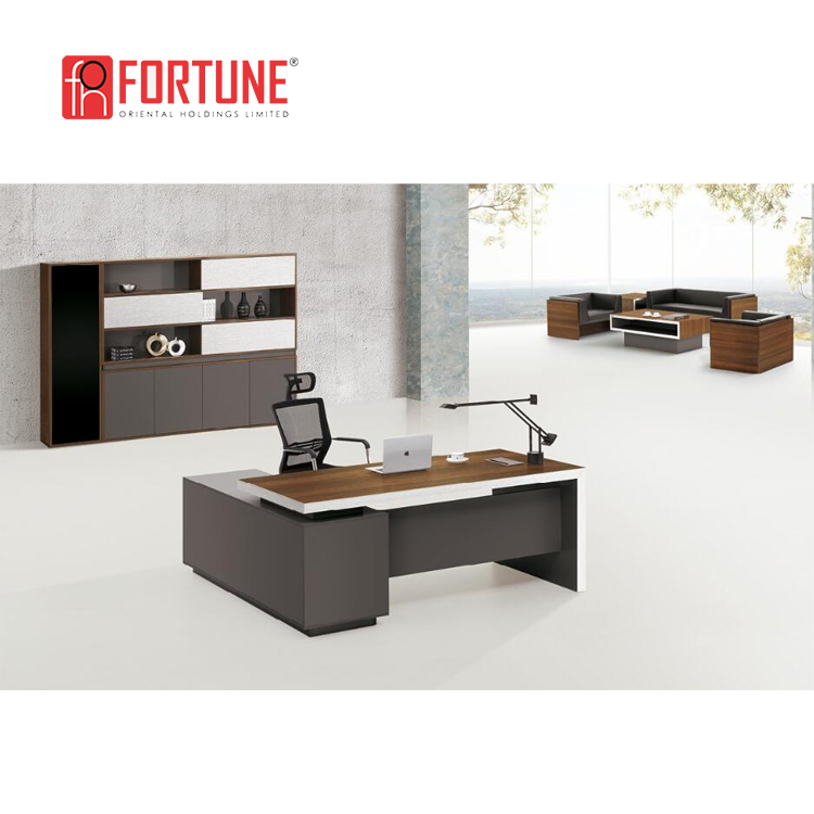 Premium quality modern home furniture wooden office desk with side return