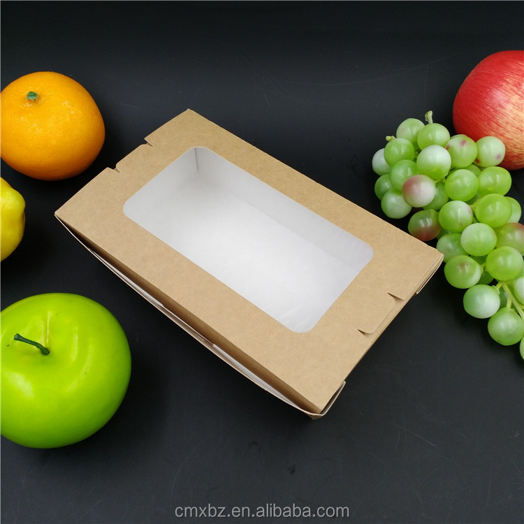 Food to go takeaway brown kraft salad paper window box