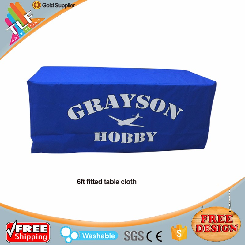 China factory cheap custom printing stretch table cloth flame retardant spandex table cover