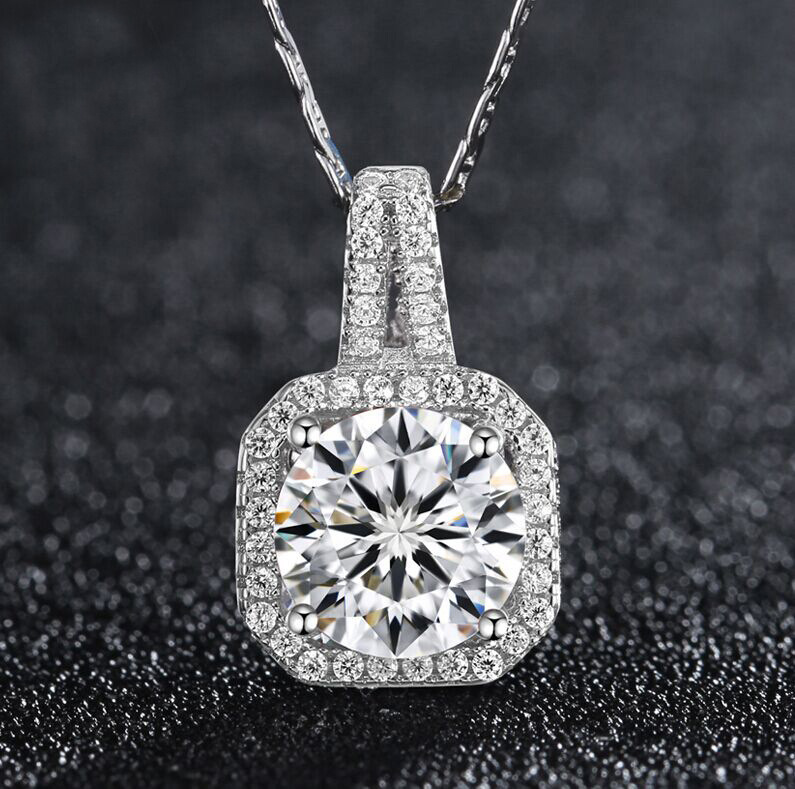 Fashion jewelry 925 sterling silver AAA CZ diamond pendant necklace