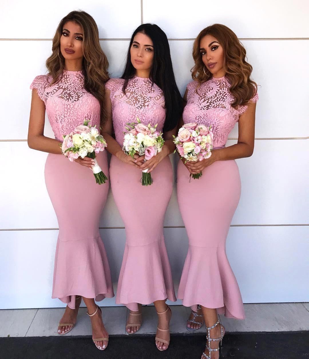 2018 Elegante Encaje Rosa Vestido De Dama De Honor Para Boda Fiesta De Cuello Alto De Sirena Mangas De Dama De Honor Vestidos Buy Vestidos De Dama