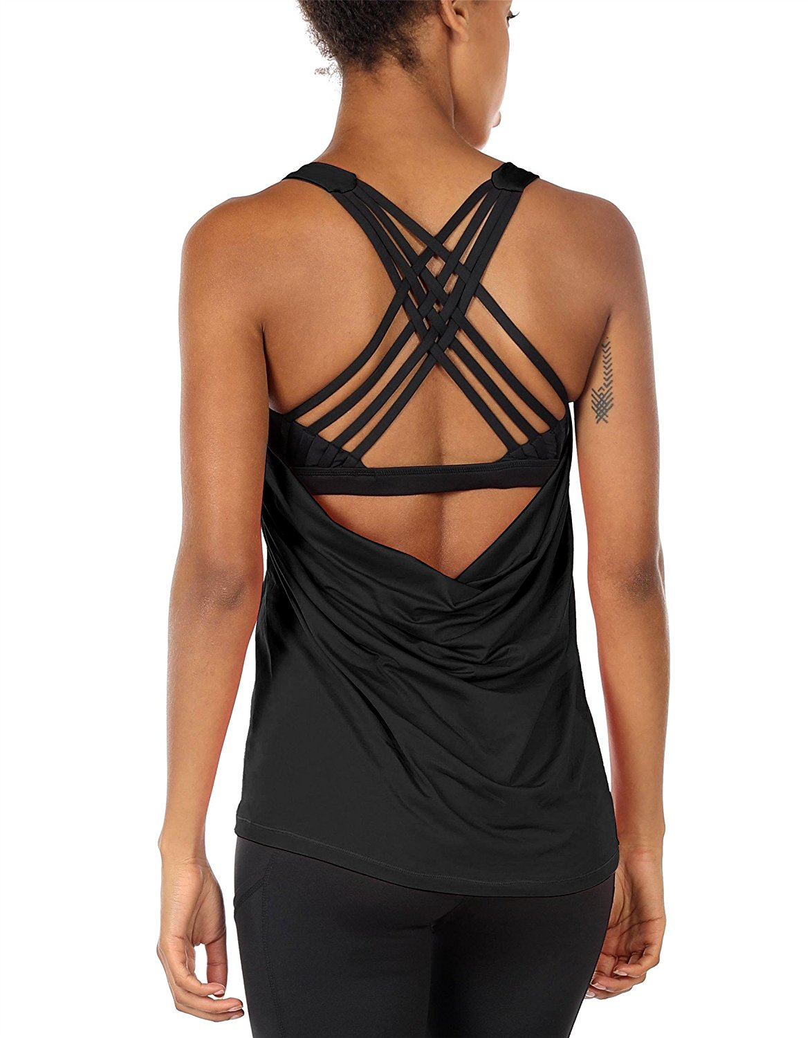 8f52cc1594703 Get Quotations · icyzone Yoga Tops Workouts Clothes Activewear Built in Bra  Tank Tops for Women